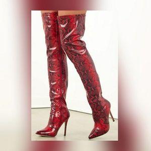 Blk & Red snakeskin thigh highs